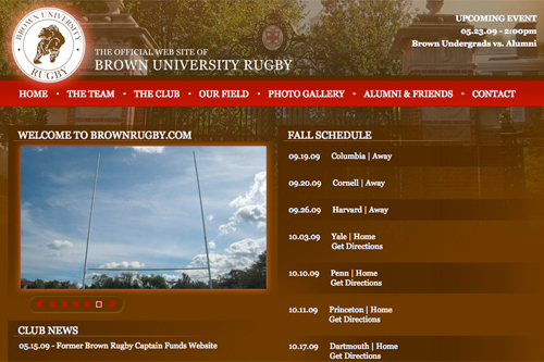 Featured Web site: www.brownrugby.com