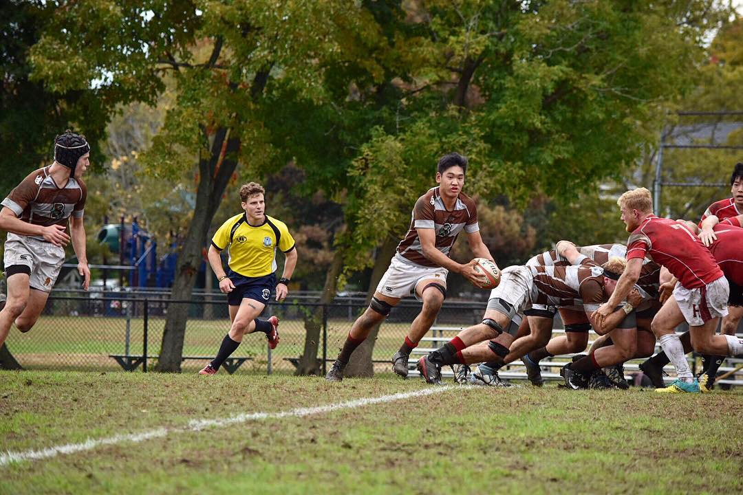 Brown attacks off the back of the scrum vs Harvard