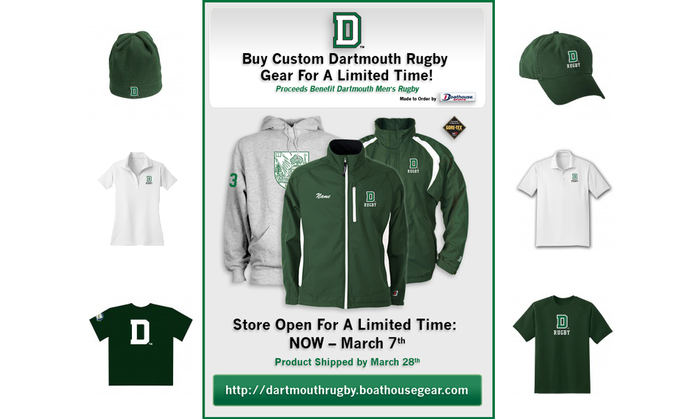 49f62fbd464 Dartmouth Gear available - proceeds benefit Dartmouth Rugby