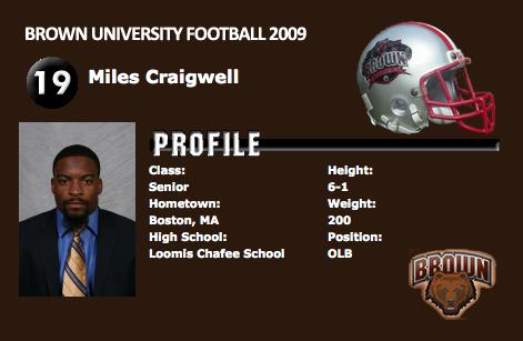 Brown University All-Ivy footballer Miles Craigwell