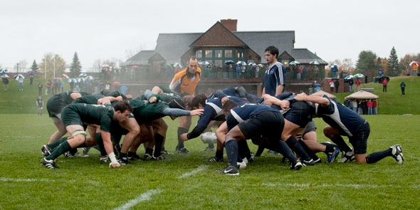 The 2009 Dartmouth Rugby Football Club vs. Yale on Brophy Field at the Corey Ford Rugby Clubhouse. (photo by Joseph Mehling '69)
