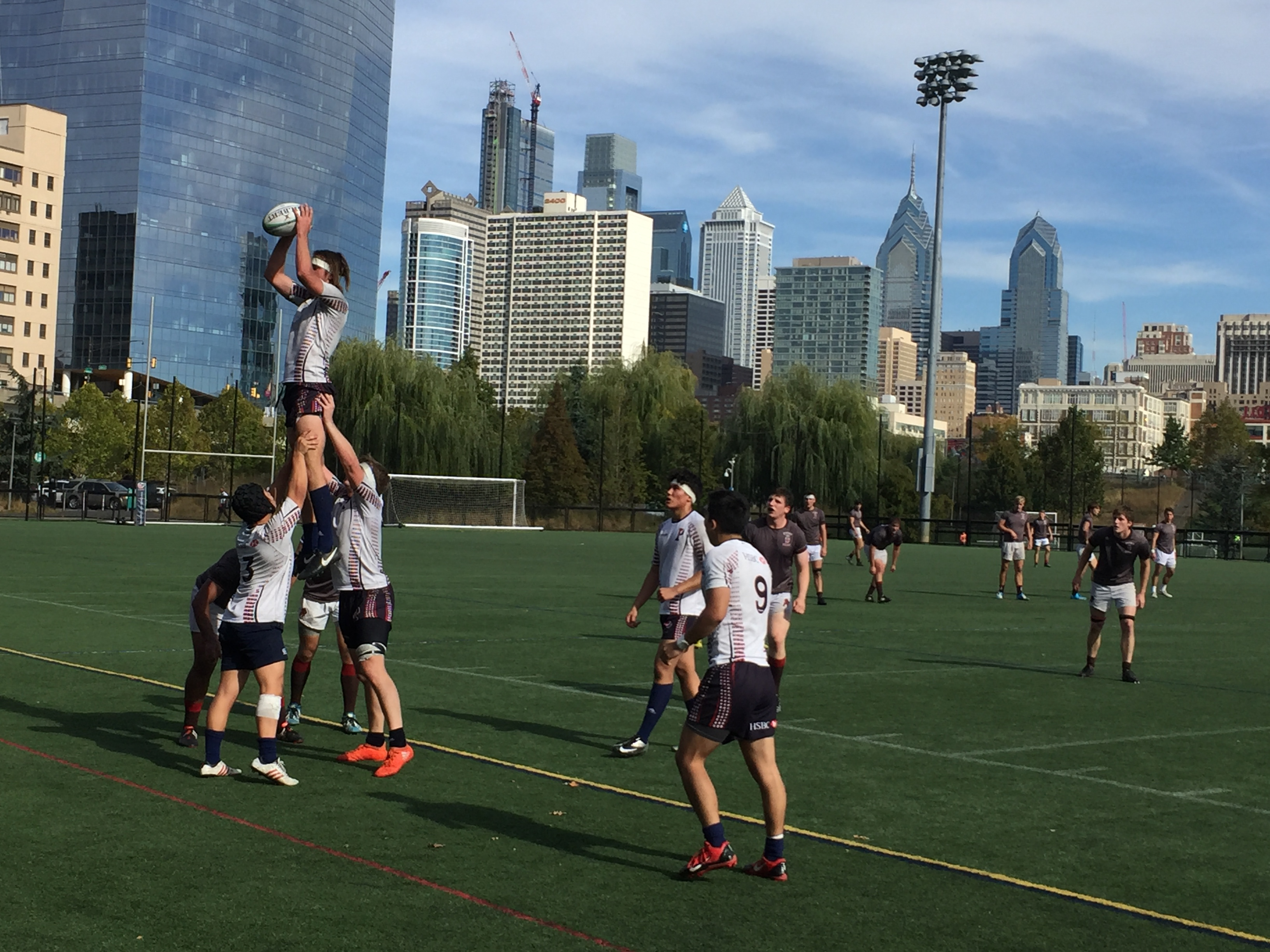 Penn takes lineout vs Brown in Penn Park