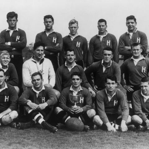 Edward M Kennedy with Harvard Rugby Team 1955