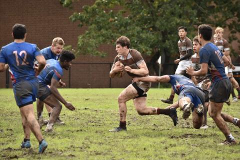 Max Spurell attacks up the middle of the Penn D