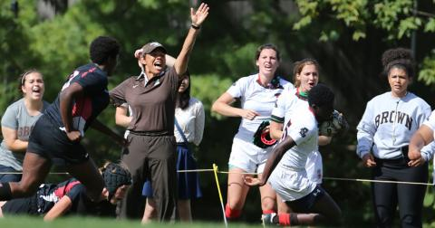Kathy Flores celebrates another Brown try