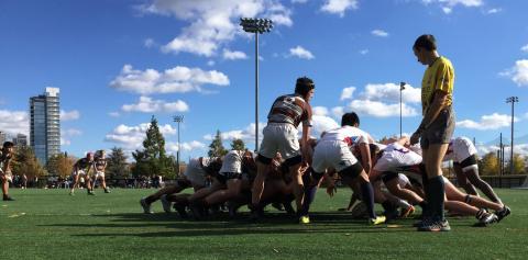 Penn rugby scrum at Penn Park