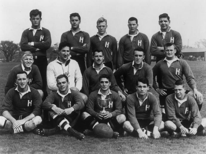 Edward M Kennedy with Harvard Rugby Team 1955